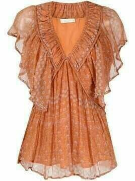 Mes Demoiselles V-neck tiered dress - Orange