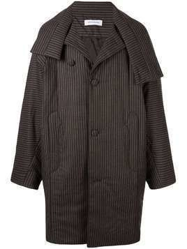 Kiko Kostadinov pinstripe coat - Brown