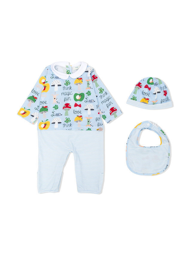 Fendi Kids printed babygrow, bib and beanie - Blue