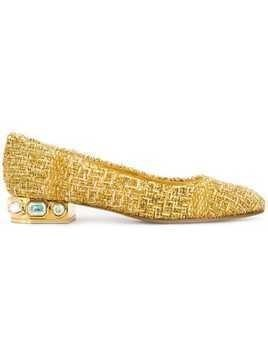 Casadei tweed ballerina shoes - Gold