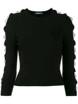 Alexander McQueen ribbed cut-out sleeve jumper - Black
