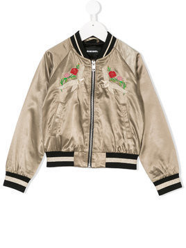 Diesel Kids embroidered bomber jacket - Green