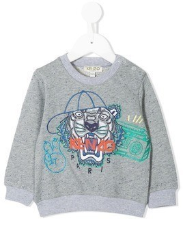Kenzo Kids embroidered tiger logo sweatshirt - Grey