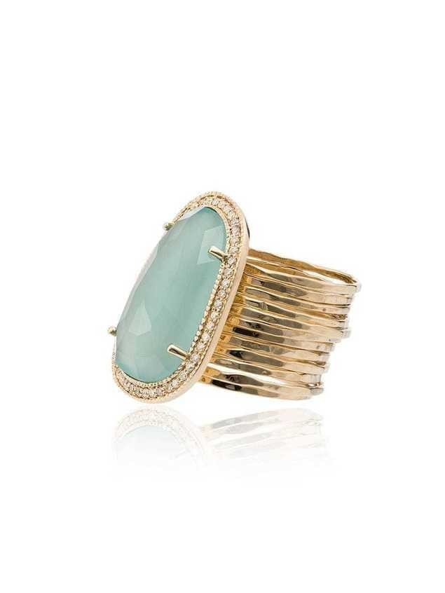 Jacquie Aiche Chalcedony diamond 14kt gold cocktail ring