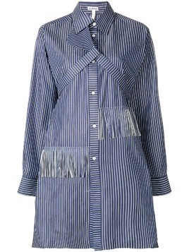 Loewe fringed striped shirt dress - Blue