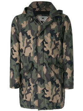 Kired camouflage print military coat - Green