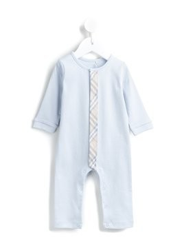 Burberry Kids Check Trim Cotton Jumpsuit - Blue
