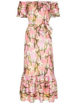 Borgo De Nor floral print off-the-shoulder midi dress - PINK