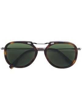 Ermenegildo Zegna oversized tortoise-shell sunglasses - Brown