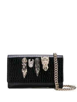 Philipp Plein Skull crocodile-effect clutch - Black