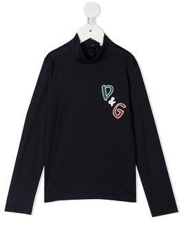 Dolce & Gabbana Kids logo patch roll neck - Blue