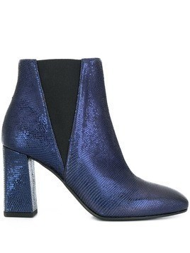 Pollini textured crocodile ankle boots - Blue