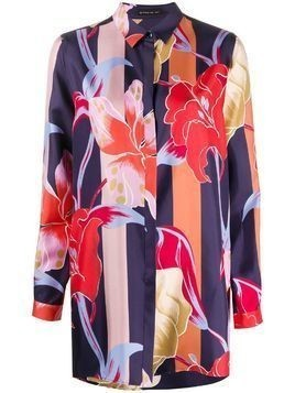 Etro block color floral print blouse - Blue