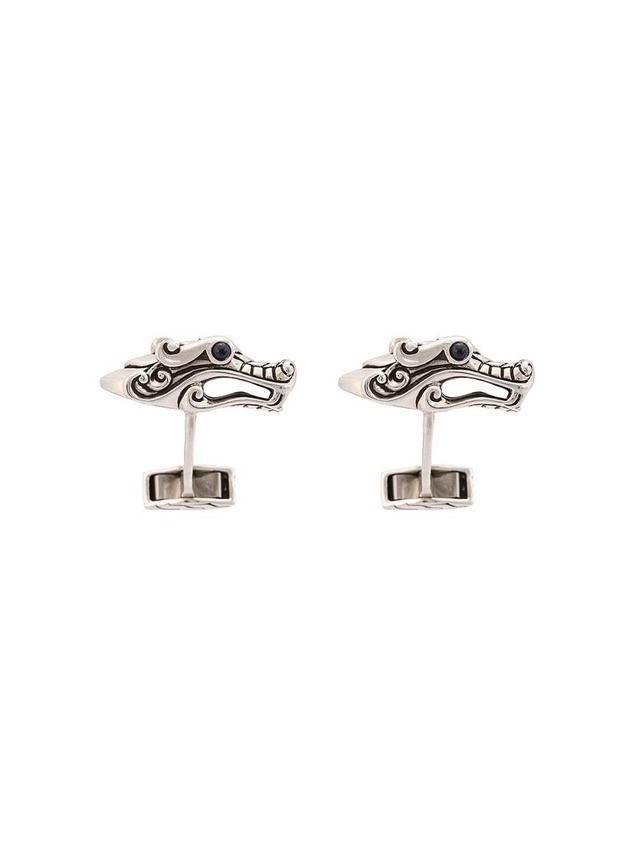 John Hardy Silver and Sapphire Legends Naga Cufflinks - Metallic