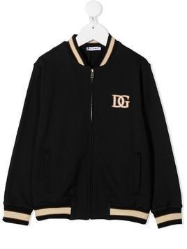 Dolce & Gabbana Kids logo embroidered bomber jacket - Blue