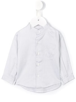 Cashmirino - Mandarin collar shirt - Kinder - Cotton - 6 mth - Grey