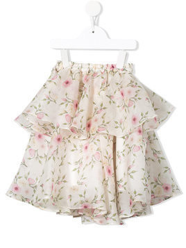 Little Bambah Rose bud double ruffle skirt - Neutrals