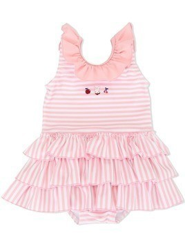 Familiar striped frilled swimsuit - PINK