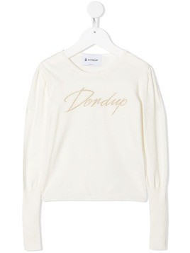 Dondup Kids embroidered logo rib-trimmed jumper - Neutrals