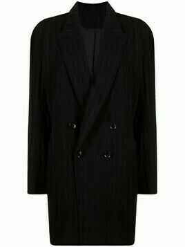 Y's pinstripe double-breasted blazer - Black