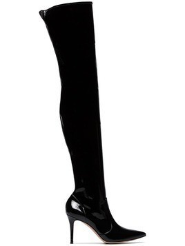 Gianvito Rossi black 85 thigh high vinyl boots