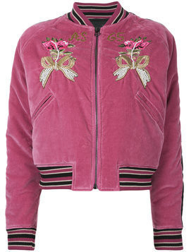 As65 flower embroidered bomber jacket - Pink