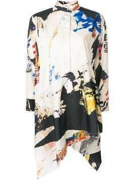 Marques'almeida asymmetrical print tunic - White