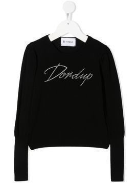 Dondup Kids embroidered logo rib-trimmed jumper - Black