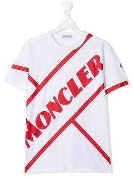 Moncler Kids TEEN striped logo print T-shirt - White