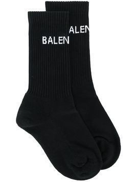 Balenciaga logo knit socks - Black