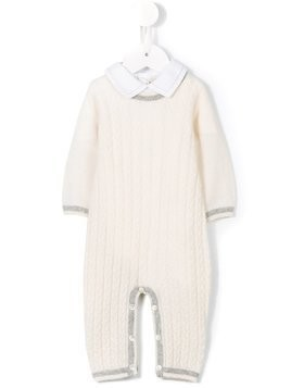 Cashmirino Cable knit romper - White