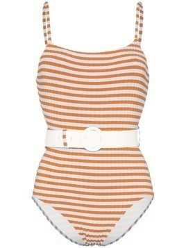 Solid & Striped striped belted swimsuit - Blue