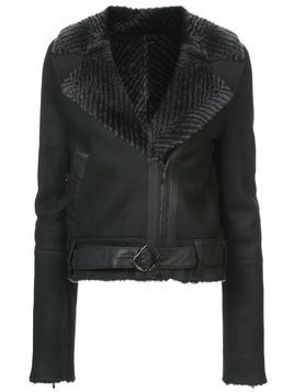 Kimora Lee Simmons chevron fur collar bomber jacket - Black