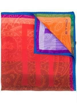 Etro contrast logo scarf - Red