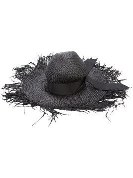 Gigi Burris Millinery destroyed sun hat - Black