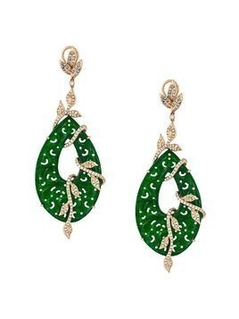 Gemco 18kt gold carved jade drop diamond earrings - Green