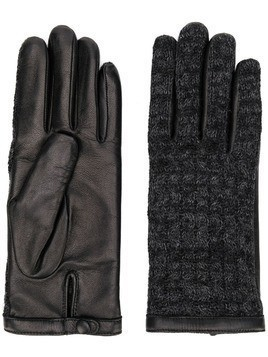 Agnelle leather knitted gloves - Black
