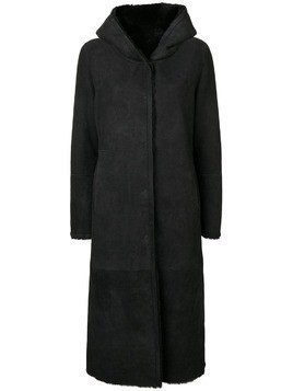 Liska hooded shearling coat - Black