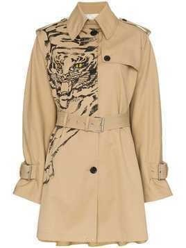 Valentino Tiger print trench coat - Nude & Neutrals