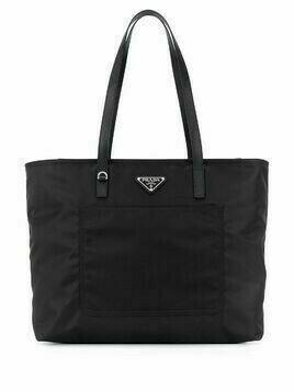 Prada logo-plaque tote bag - Black