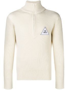 Gosha Rubchinskiy logo embroidered zipped sweater - White
