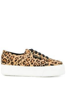 Superga leopard-print chunky sole sneakers - Black