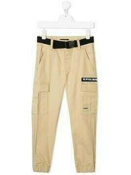 Dkny Kids logo-patch cotton cargo trousers - Neutrals