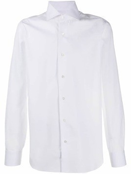 Barba plain long sleeved shirt - White