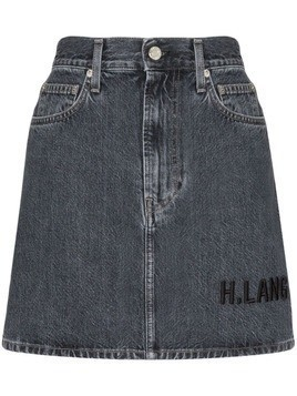 Helmut Lang brand-embroidered denim mini-skirt - Blue