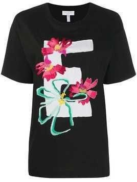 Escada Sport embroidered flowers T-shirt - Black