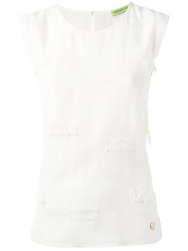 Versace Jeans frayed trim top - White