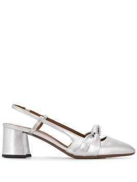 L'Autre Chose metallic knot detail pumps - SILVER