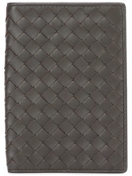 Bottega Veneta espresso Intrecciato nappa passport case - Black
