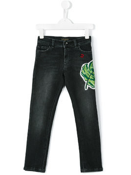 Dolce & Gabbana Kids palm leaf appliqué jeans - Black
